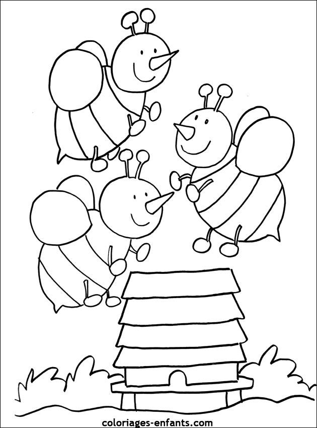 Jeux et coloriages d 39 abeilles imprimer - Coloriage d abeille ...