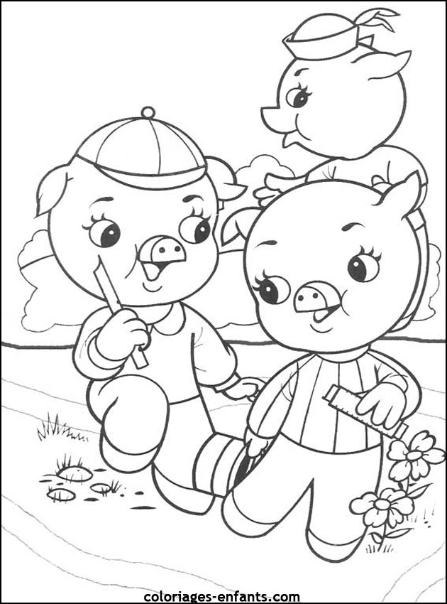 Coloriages de cochons à imprimer pour enfants