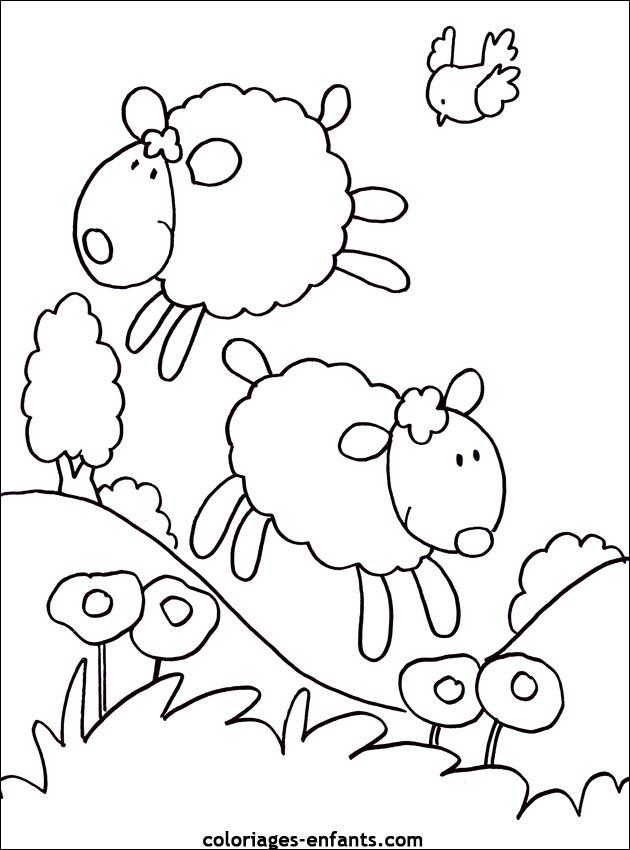 Coloriage de moutons à imprimer sur coloriages - enfants