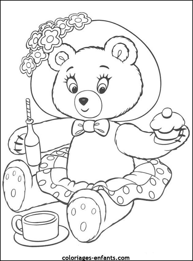 Coloriage d'animaux - dessin d'ours à imprimer pour les enfants