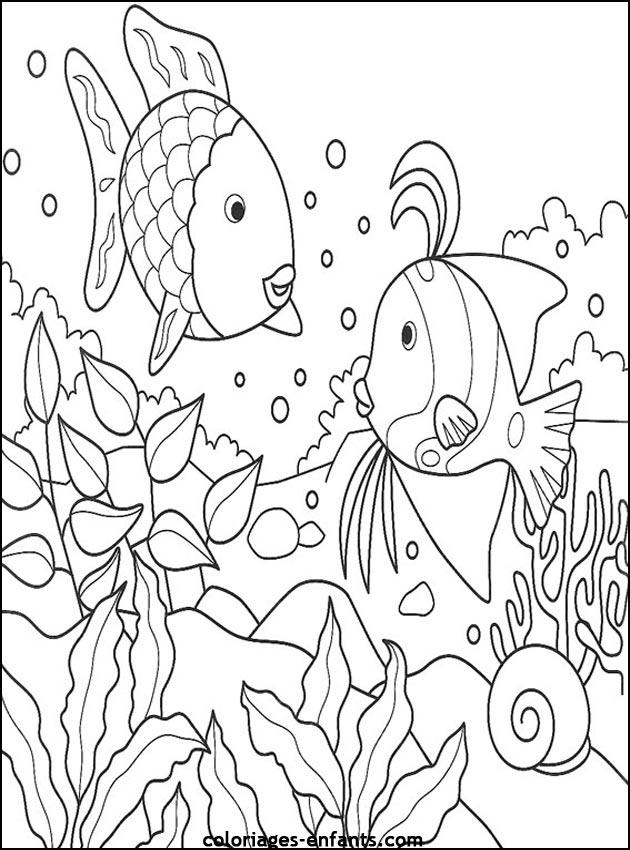 Célèbre Coloriage de poissons à imprimer de coloriages - enfants SK18