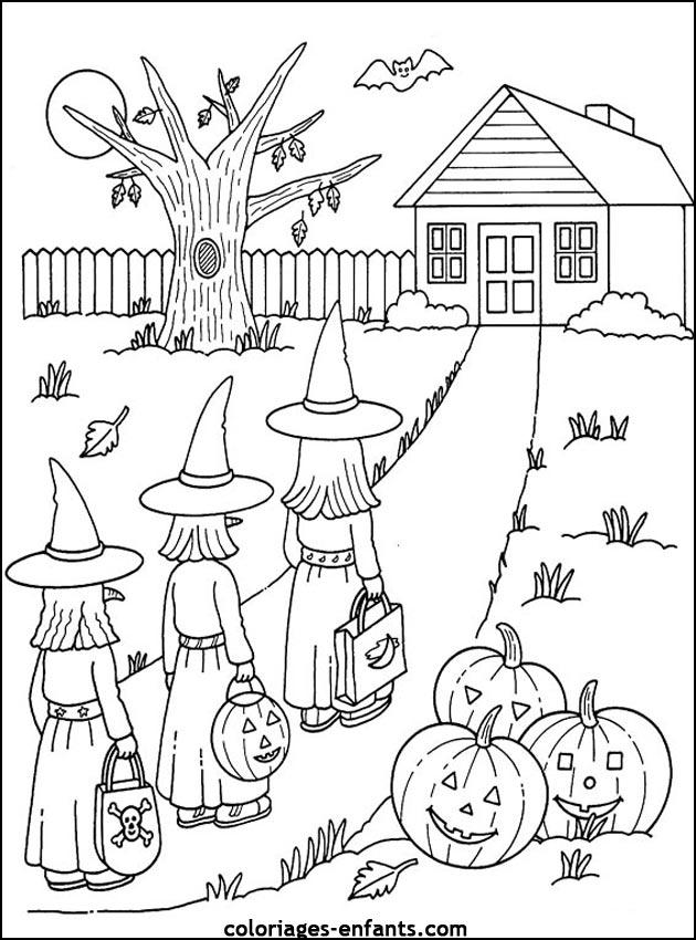 Coloriage d 39 halloween imprimer sur coloriages - Dessin a colorier de halloween ...