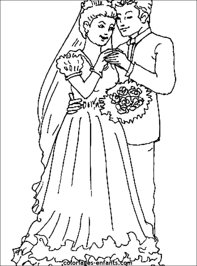 Dessin facile pour mariage - Coloriage mariage ...