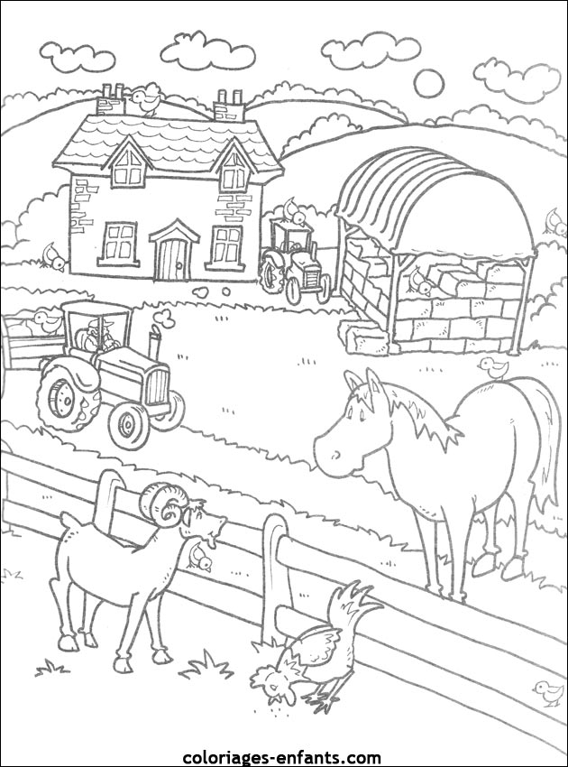 coloriages de la ferme - Coloriage Ferme