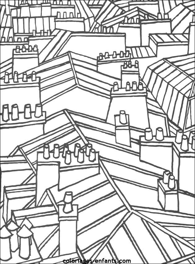 Coloriages et jeux des toits de paris - Toit de maison dessin ...