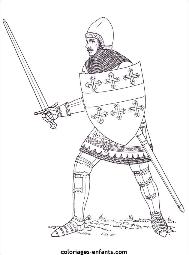 Coloriage Casque Chevalier.Dessiner Un Chevalier Du Moyen Age