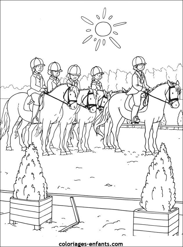 Les coloriages d 39 quitation imprimer sur coloriages - Dessin anime des chevaux ...