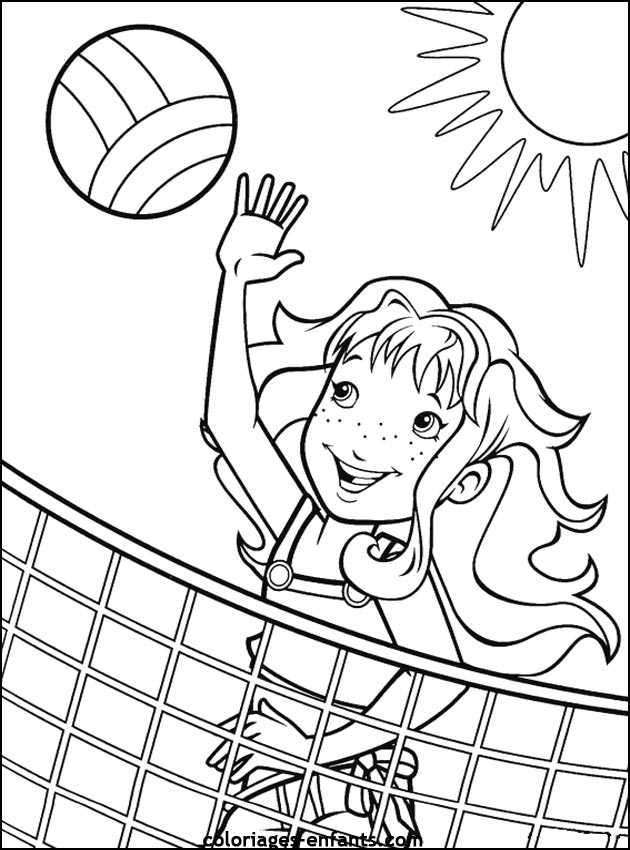 Coloring Activity Pages Girl Playing Beach Volleyball Coloring Page