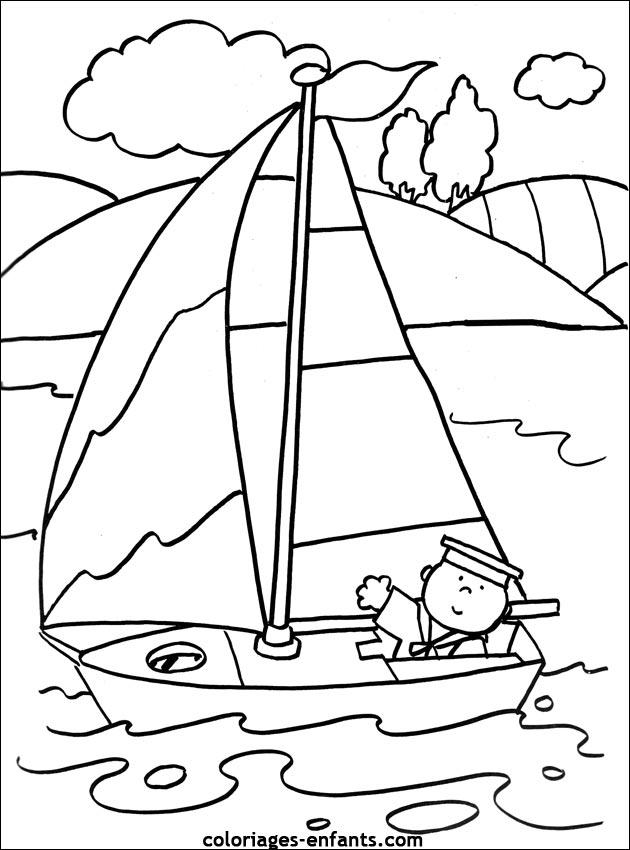 Les coloriages de bateaux imprimer sur coloriages - Dessin bateau enfant ...