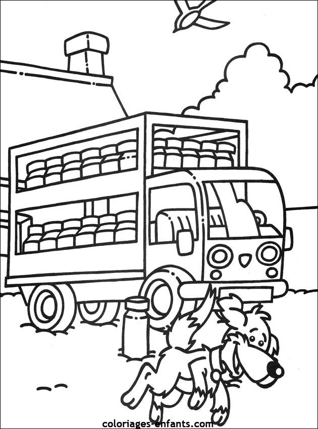 Coloriage du camion de livraison de lait - Dessin de camion a imprimer ...