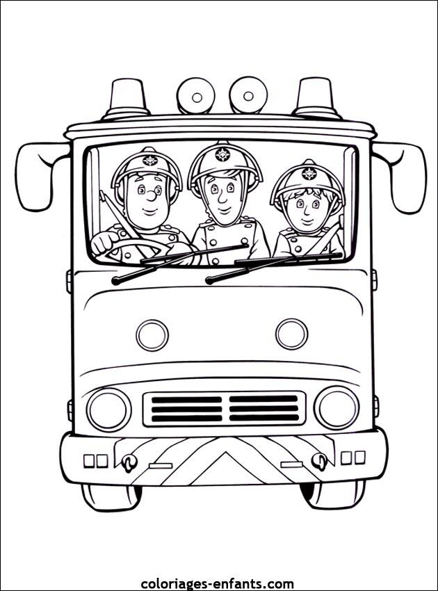 Coloriage du camion de pompier de sam le pompier - Coloriage de sam le pompier a imprimer ...