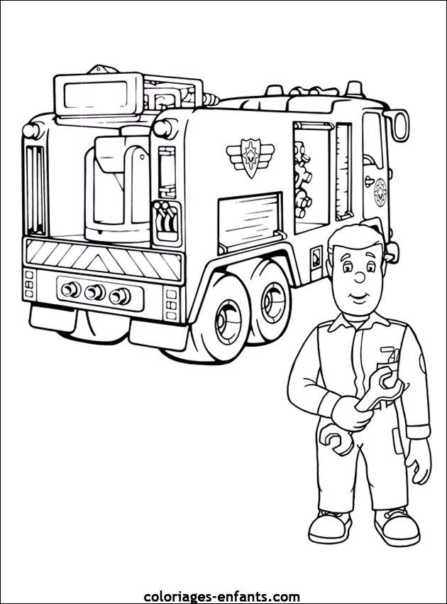 Coloriage du camion de pompier de sam le pompier - Coloriage de camion de pompier ...