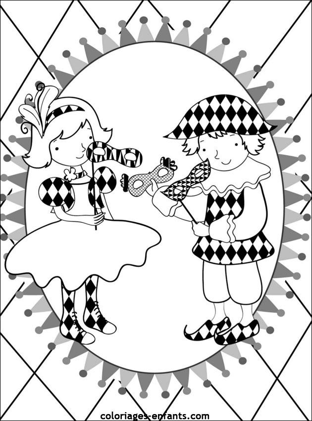 Coloriage de carnaval à imprimer sur coloriages-enfants.com