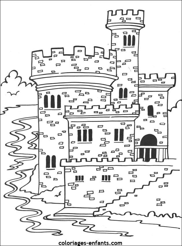 Coloriage Playmobil Chateau Fort.Un Chateau Fort A Colorier
