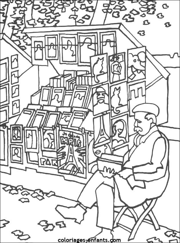Coloriage des bouquinistes - Coloriage ville ...