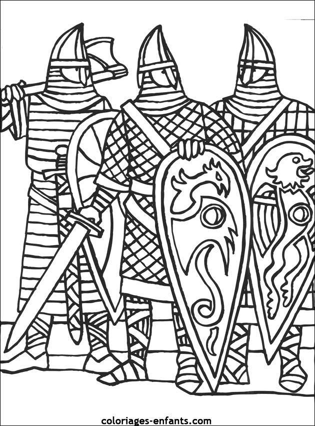 chevalier moyen age coloriage