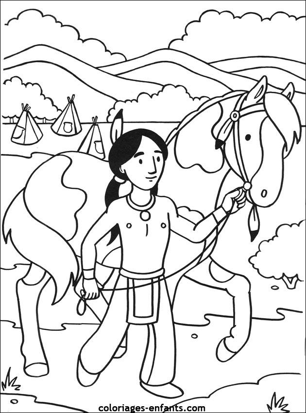Les Coloriages d'indiens à imprimer sur Coloriages-enfants.com
